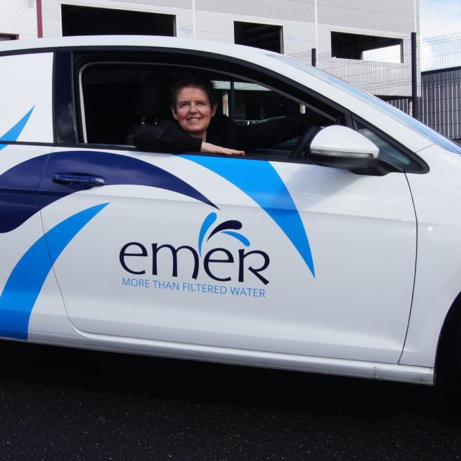 Emer Water hits the roads in new branded car